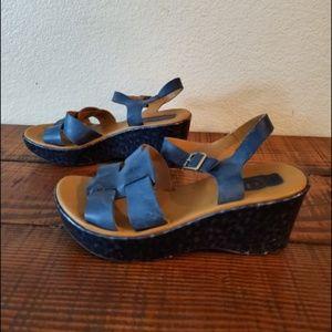 KORKS Ease Strap Leather Blue Wedge Heels Sandals